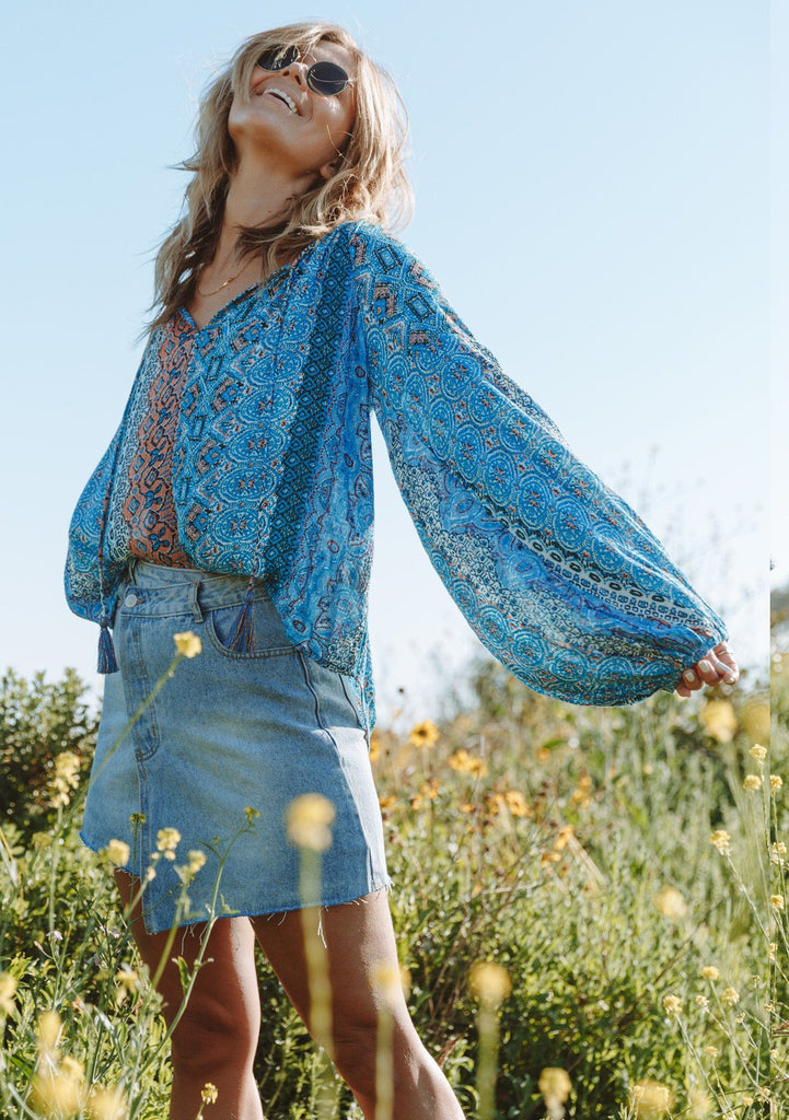 [Color: Blue Multi] Beautiful blue paisley bohemian hippie peasant blouse with billowy volume sleeves