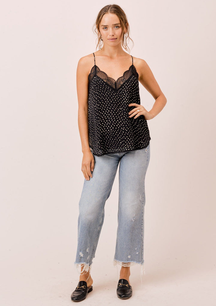[Color: Midnight/Sky] Lovestitch dot camisole with lace trim