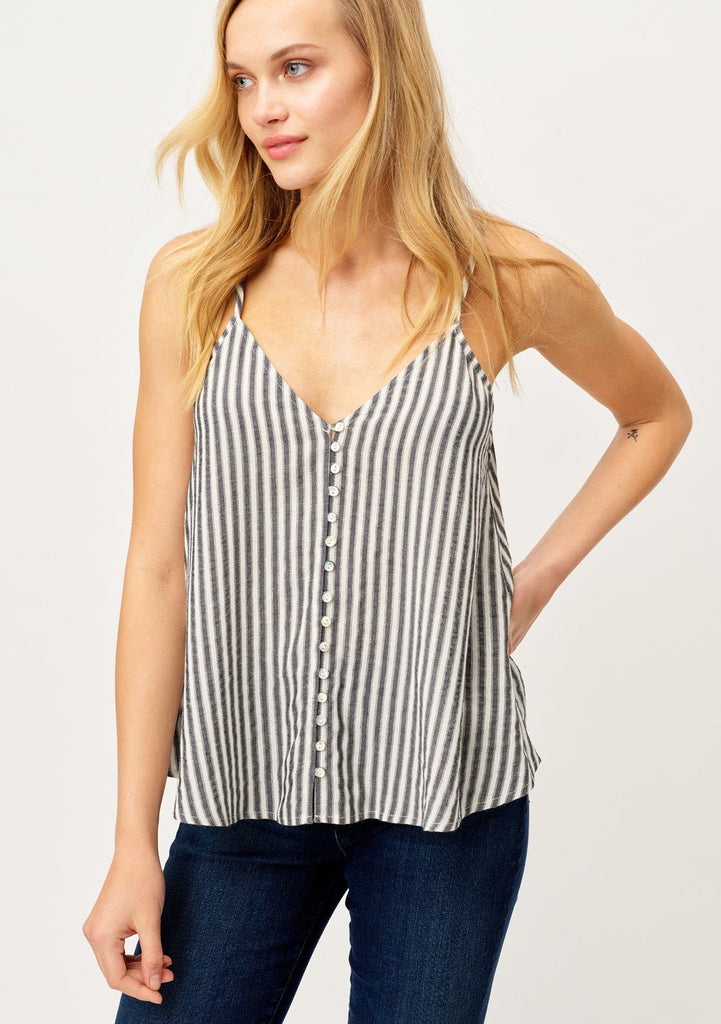 [Color: Black/Gold] Lovestitch keep it casual striped white and back tank top with button front and metallic details