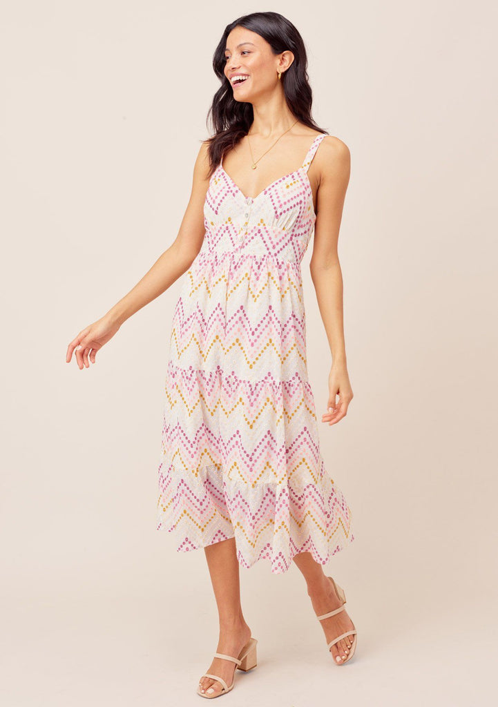 [Color: white/Rose] Lovestitch white/rose Vintage style, chevron striped midi dress with tiered, full skirt and buttoned top detail.