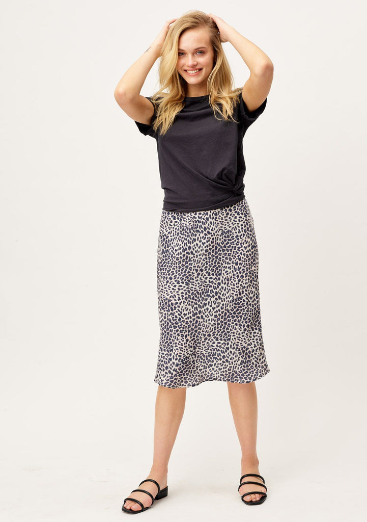 [Color: Natural/Midnight] Cute leopard print midi bias skirt