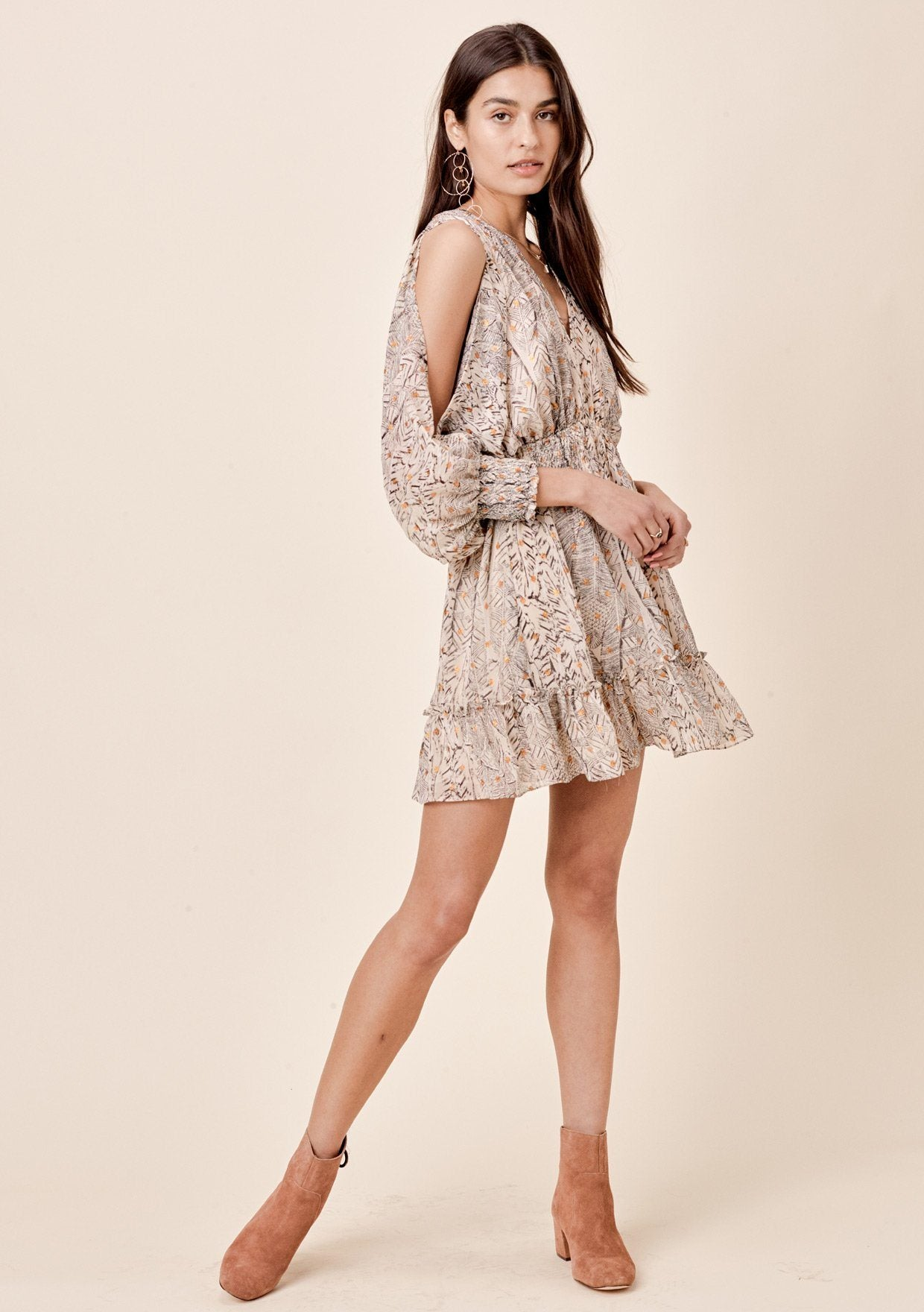 [Color: Natural] Lovestitch feather printed chiffon, split sleeve, mini dress with smocked waist.