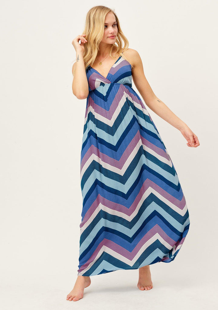 [Color: Blue/Pink/Purple] Slimming chevron striped cool blue tone maxi dress with flattering empire waist, deep V-neckline and adjustable spaghetti straps. Adorable and attention getting summertime maxi dress