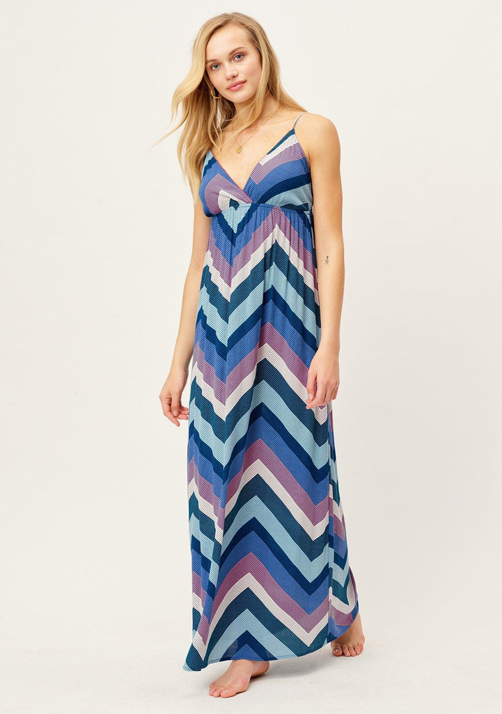 [Color: Blue/Pink/Purple] Slimming chevron striped cool blue tone maxi dress with flattering empire waist, deep V-neckline and adjustable spaghetti straps