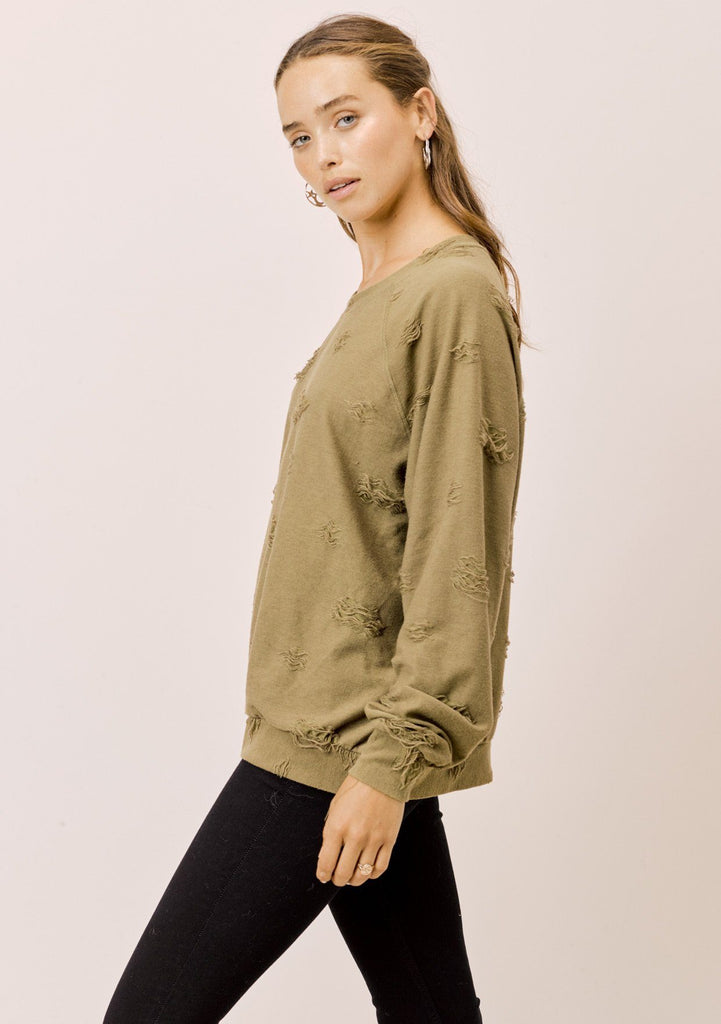 [Color: Olive] Lovestitch Olive Green destroyed raglan crewneck pullover sweater