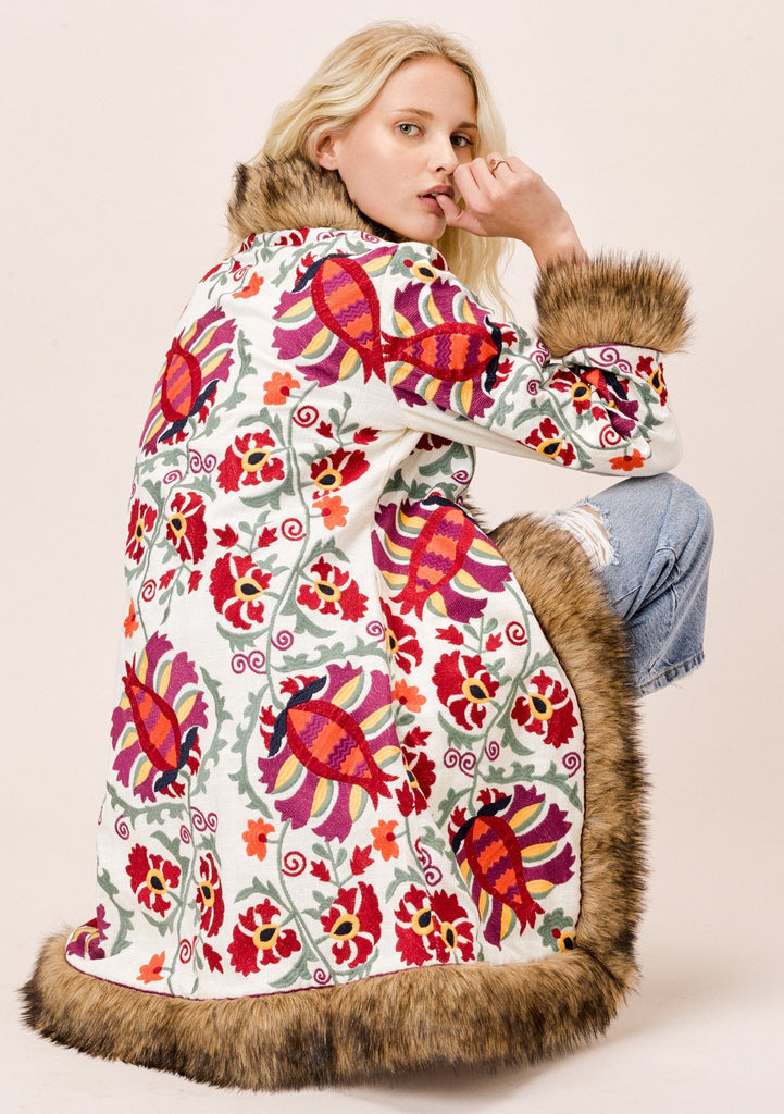 [Color: Natural Multi] Lovestitch embroidered floral coat with faux fur trim