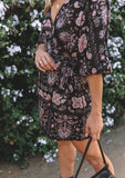 [Color: Black/Rose] Lovestitch floral printed dolman sleeve faux wrap mini dress