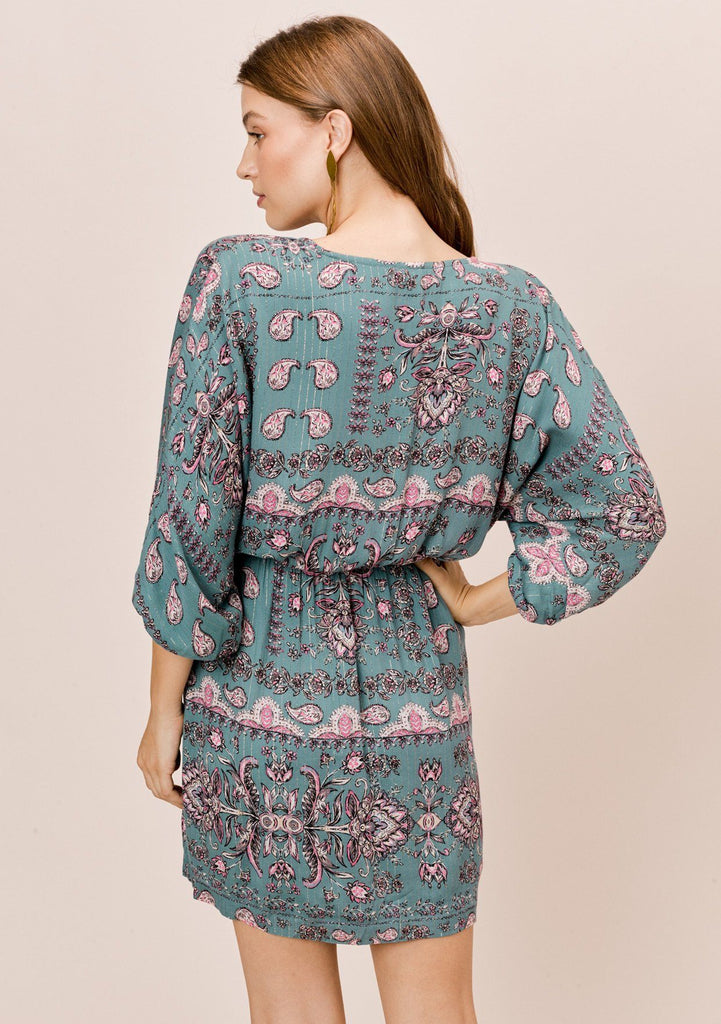 [Color: Pine/Rose] Lovestitch pine/rose floral printed dolman sleeve faux wrap mini dress