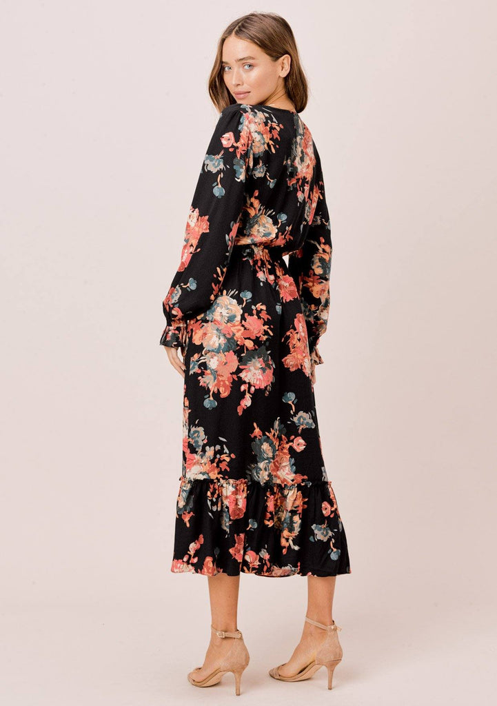 [Color: Black/Rust] Lovestitch black/rust long sleeve, floral dress with ruffled cuffs, buttoned top and front slit.