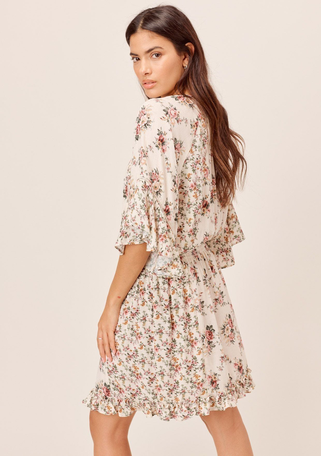 [Color: Natural/Rose] Lovestitch ruffle sleeve mini dress with rose print vintage floral and flattering silhouette