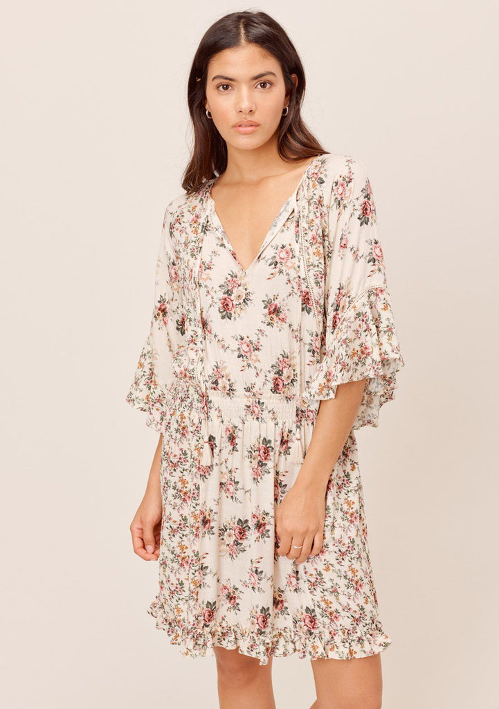 [Color: Natural/Rose] Lovestitch floral rose floral dresses - super bohemian and feminine mini dress with ruffle sleeves