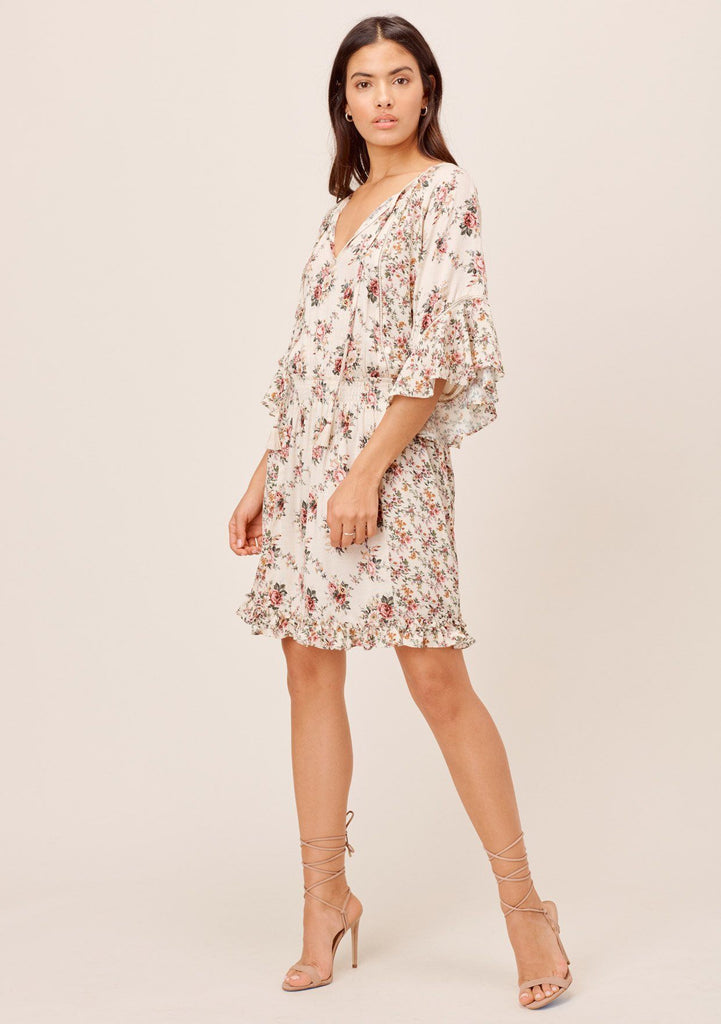 [Color: Natural/Rose] Lovestitch natural/rose Bohemian, mixed floral print dress with smocked waist, ruffled sleeve, tie neck detail and crochet lace trim.