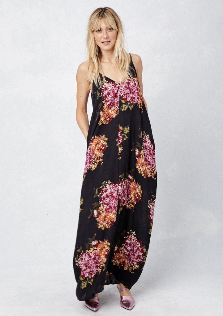 [Color: Black/Orchid/Rust] Lovestitch black, floral print maxi dress with a billowy, comfy fit and a flattering silhouette.