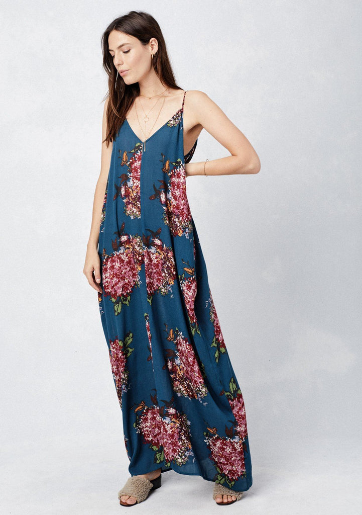 [Color: Teal/Rose/Plum] Lovestitch teal, floral print maxi dress with a billowy, comfy fit and a flattering silhouette.