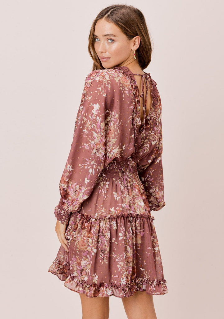 [Color: DustyMauve/Rust/Lavender] Lovestitch dusty mauve floral printed mini dress with smocked waist and ruffled neckline and other details