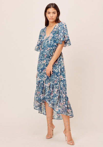 Rosalia Floral Flutter Sleeve Dress