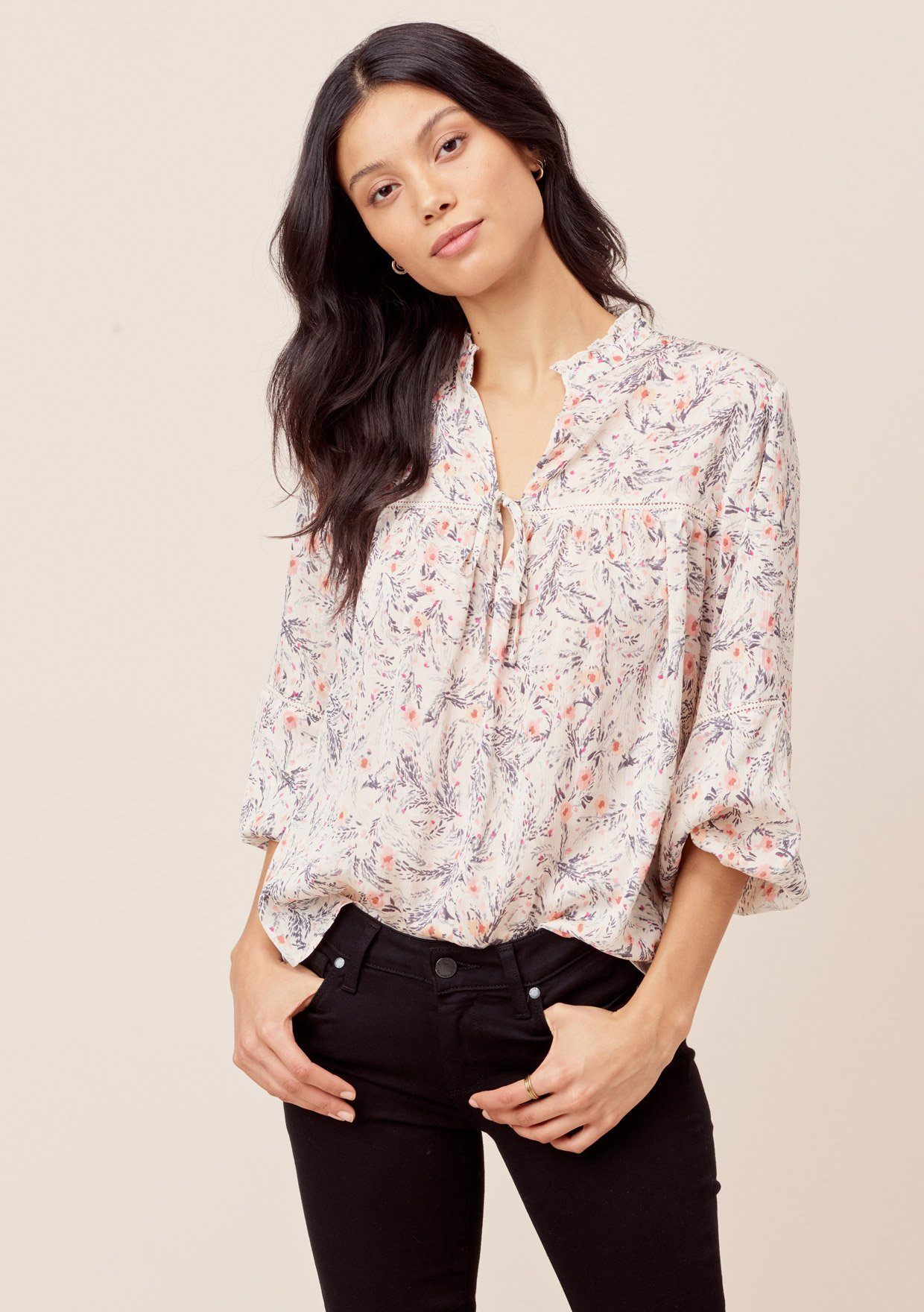 [Color: Natural/Charcoal] Lovestitch natural/charcoal Floral printed top with three quarter length sleeves, crochet lace trim and tie neck detail.