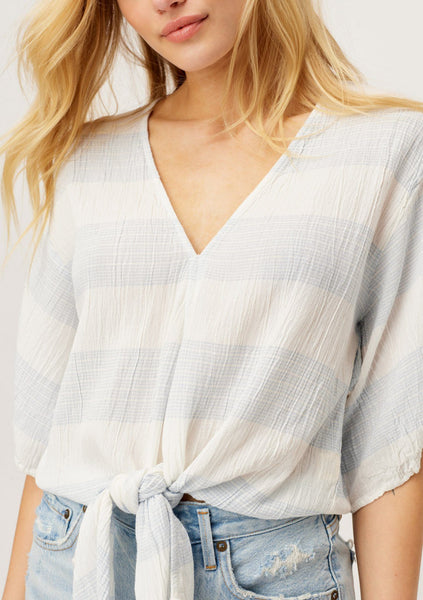 Beach Days Are Coming Striped Tie Front Top