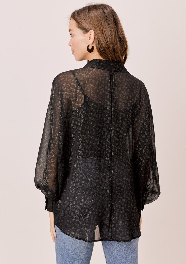 [Color: Black/Gold] Lovestitch black/gold Foil chiffon, dolman sleeve, buttondown blouse.