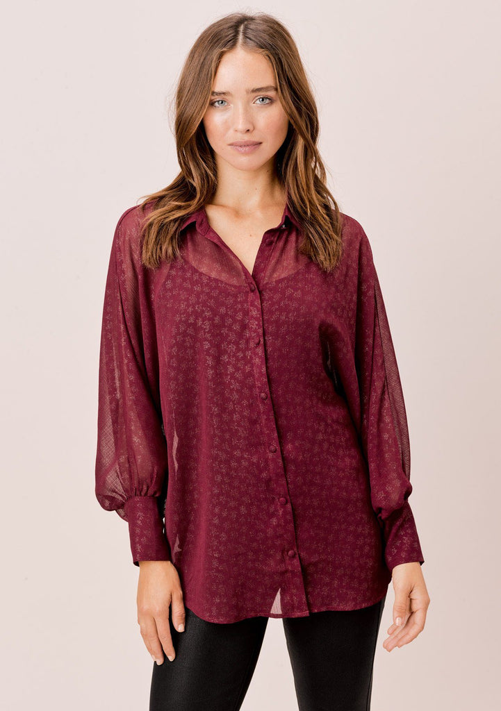 [Color: Wine/Gold] Lovestitch wine/gold Foil chiffon, dolman sleeve, buttondown blouse.