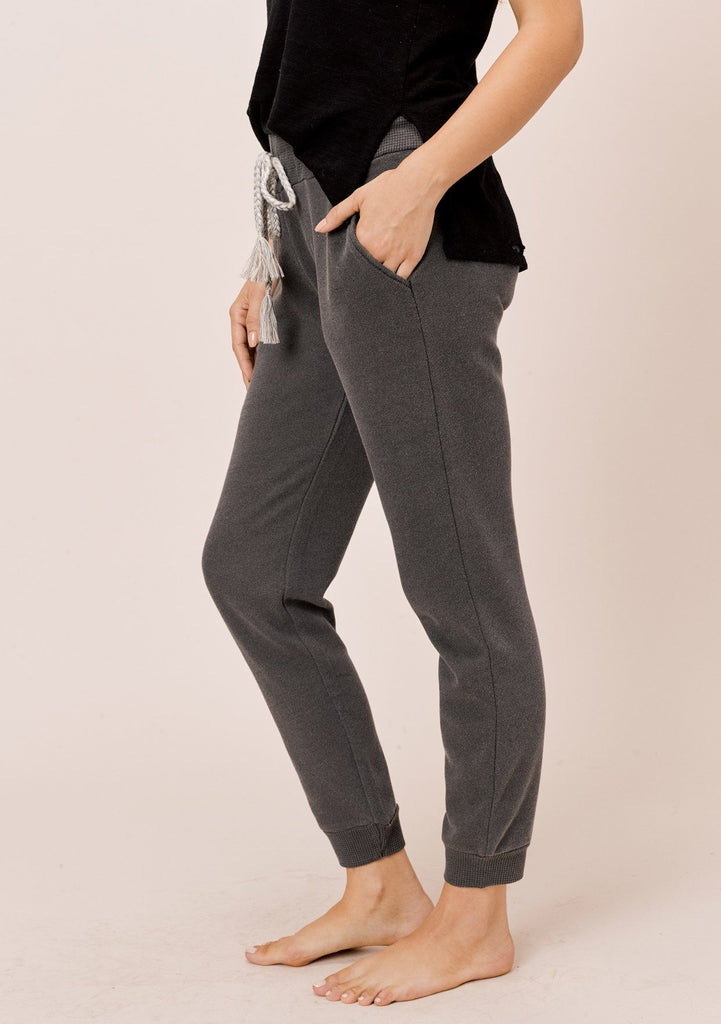 [Color: Charcoal] Lovestitch charcoal grey pigment dyed jogger sweatpant with drawstring waist and side pockets
