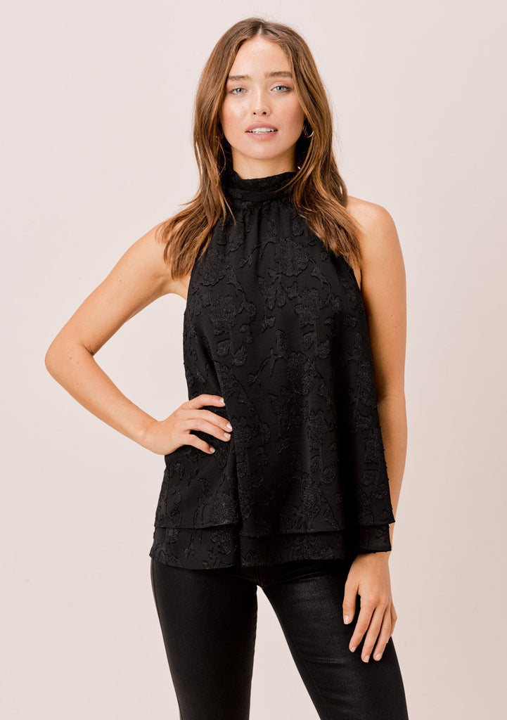 [Color: Black] Lovestitch black floral jacquard chiffon, sleeveless swing top with neck tie.