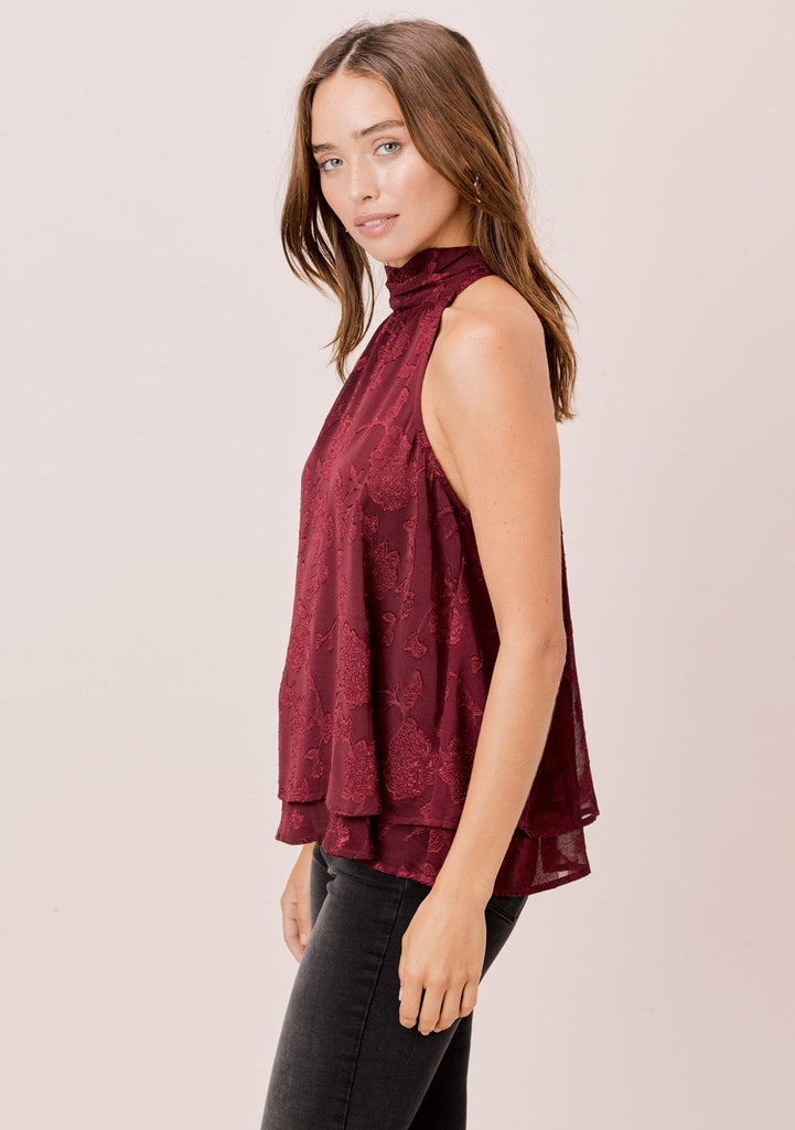 [Color: Burgundy] Lovestitch burgundy floral jacquard chiffon, sleeveless swing top with neck tie.
