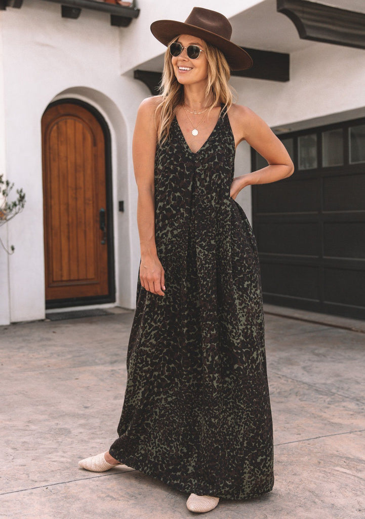[Color: Army/Brown]  Lovestitch army/brown Leopard racerback maxi dress with pockets