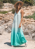 [Color: Mint] Beautiful bohemian style slightly sheer green ombre maxi dress with deep side pockets and a racer back detail.