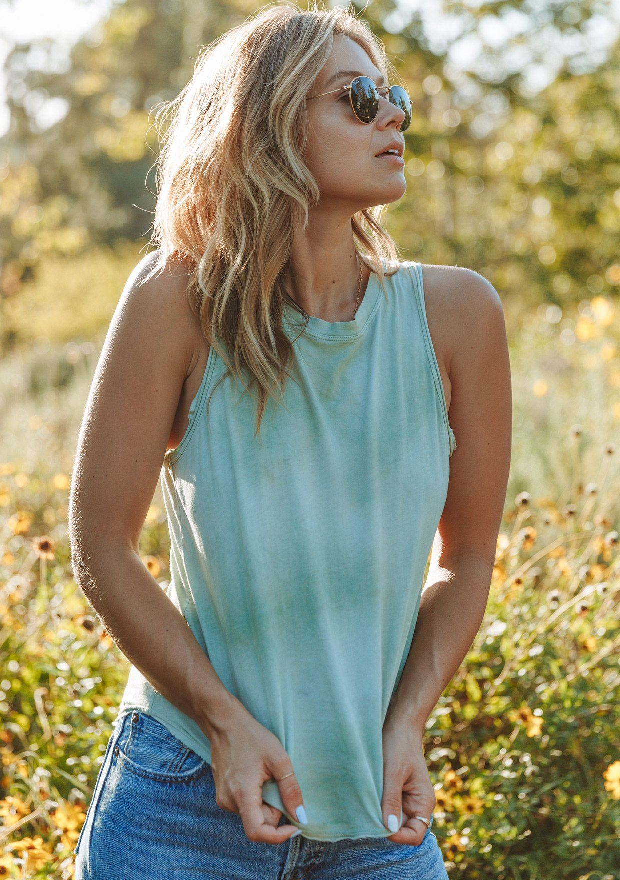 [Color: Green] Lovestitch bohemian chic tie dye racerback tank top with cute exposed seam