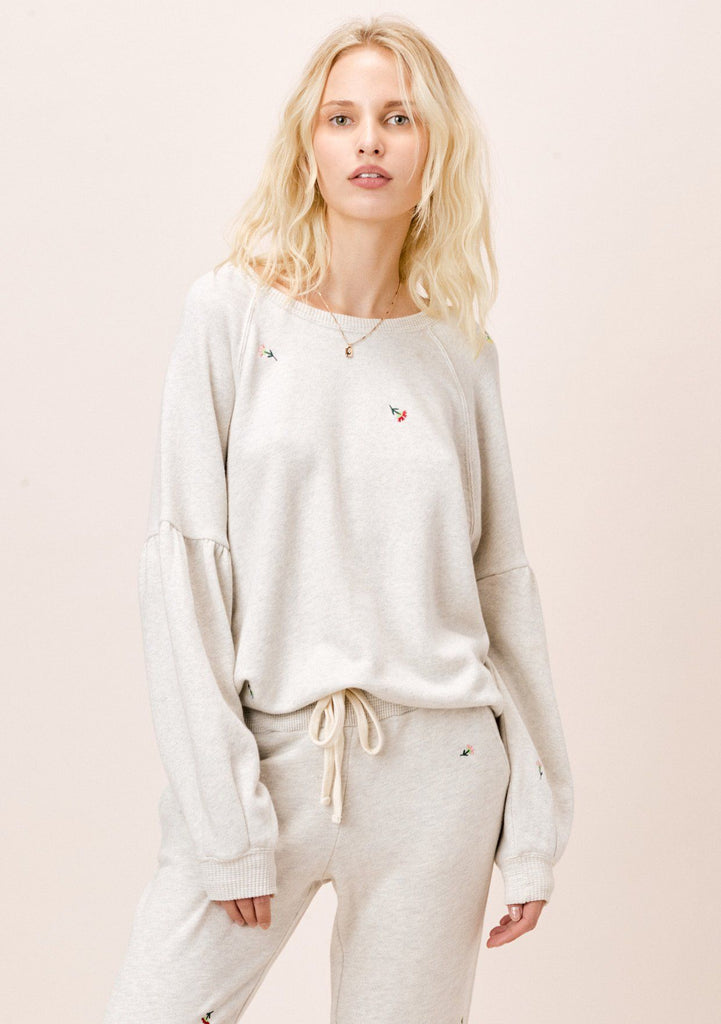 [Color: Oatmeal] Lovestitch oatmeal french terry, flower embroidered sweatshirt pullover with volume sleeve
