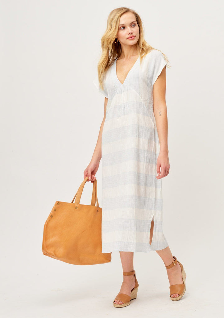 [Color: Sky Blue/White] Lightweight blue and white stripe gauze beach maxi dress with V-neckline and capped sleeves
