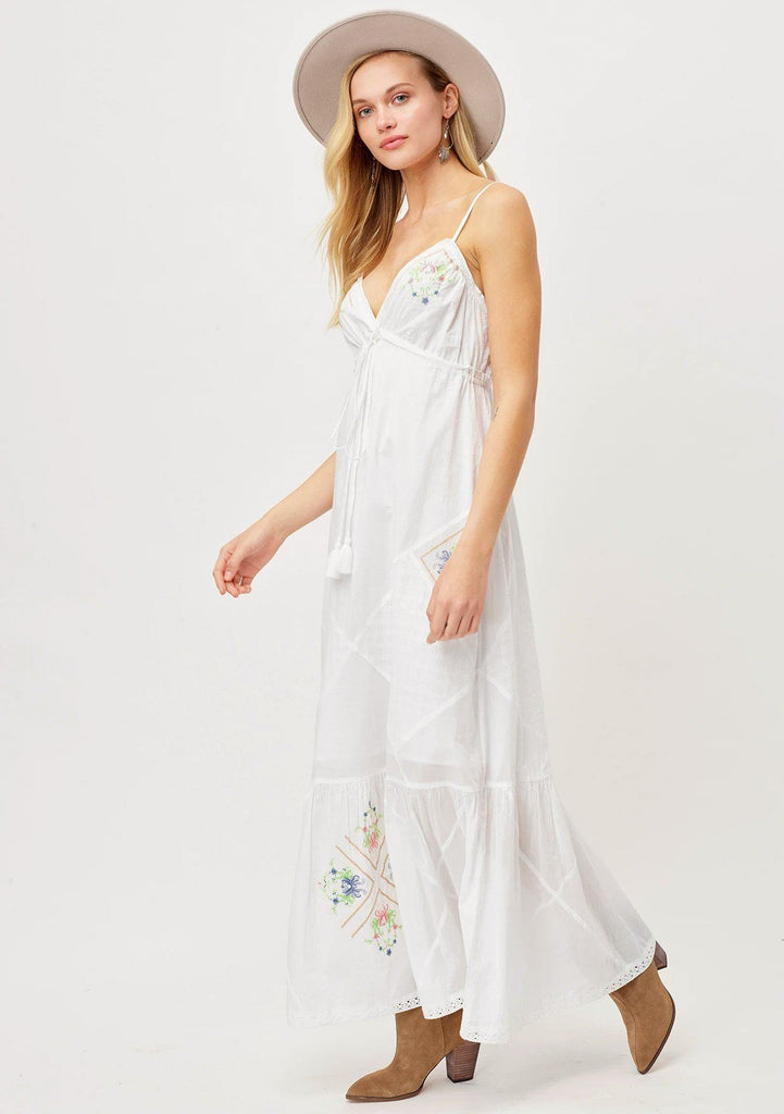 [Color: Off White] Beautiful long white boho hippie maxi dress with spaghetti straps, cute floral embroideries, diamond patters and flattering tassel tie waist. Bohemian bride summer beach wedding dress.