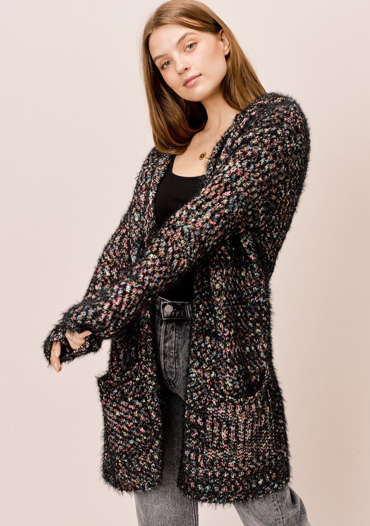 [Color: Black Multi] Lovestitch black multi soft hooded fuzzy popcorn cardigan with pockets.