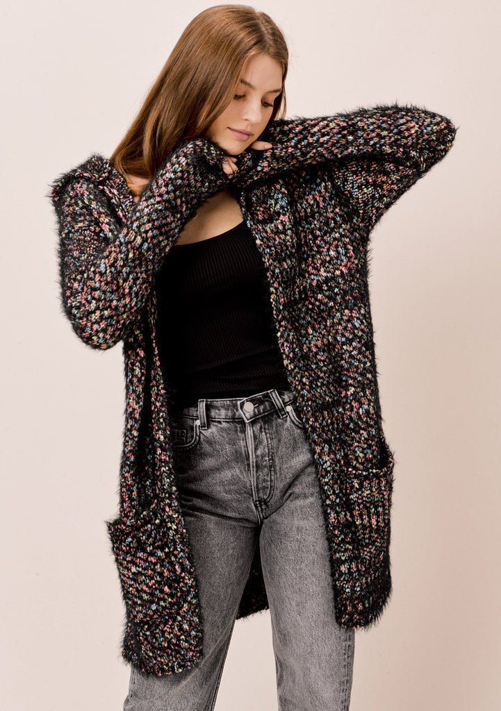 [Color: Black Multi] Lovestitch black/multi soft hooded fuzzy popcorn cardigan with pockets