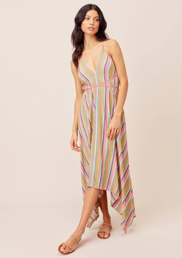 [Color: Multi] Lovestitch Rainbow striped beach dress with a plunging v-neck halter front and open strappy back, handkerchief hem maxi dress. Adorable spring and summer beach maxi dress