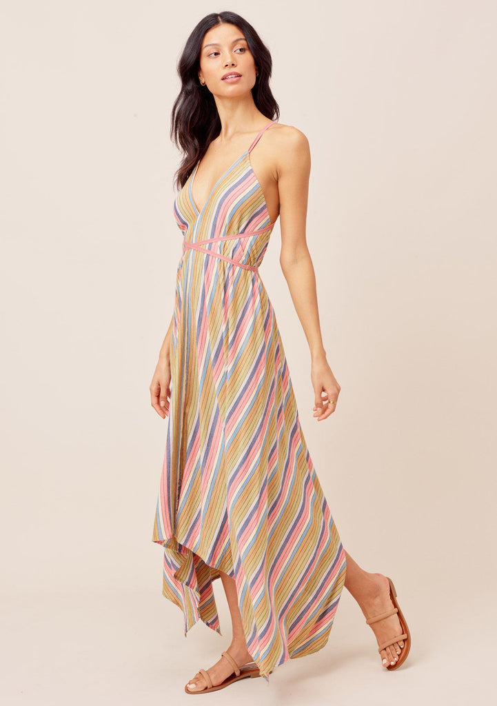 [Color: Multi] Lovestitch multicolor Elegant and chic, V-neckline, halter, wraparound, multicolor striped maxi dress with versatile long straps that you can tie many ways for a sexy and effortless look!
