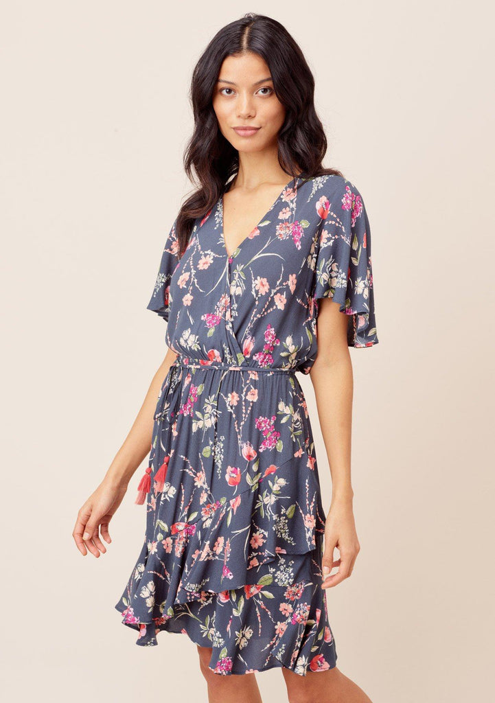[Color: OffBlack/Poppy] Lovestitch offblack/poppy Floral printed, short flutter sleeve mini dress with wrap front, ruffled hem and tassel tie belt.