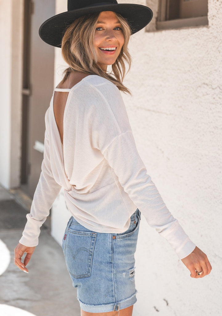 [Color: Blush] Lovestitch lightweight thermal long sleeve yoga shirt with a cute twist back detail. The perfect thin lightweight long sleeve top for summer