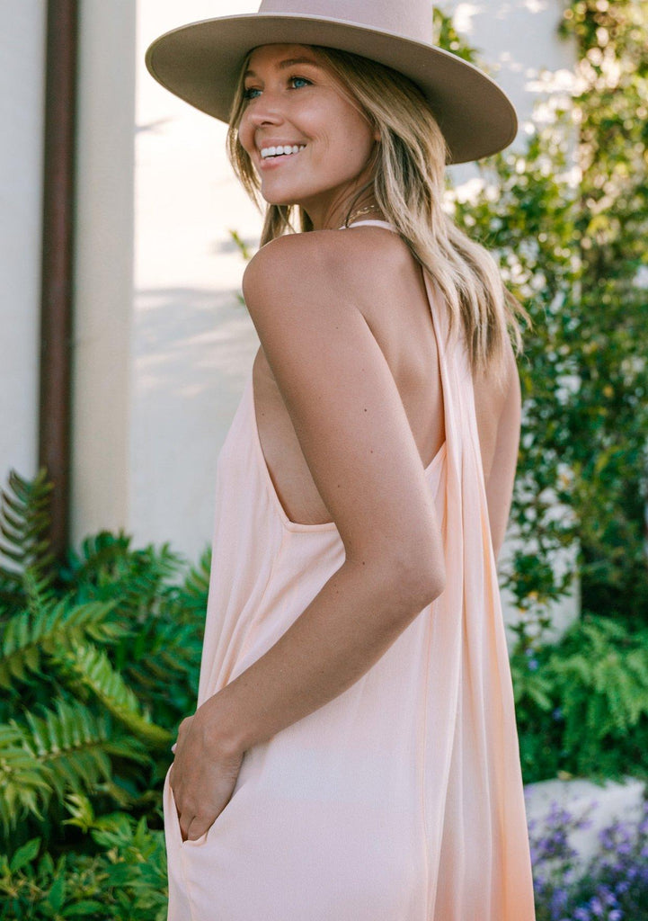 [Color: Coral] Lovestitch beautiful lightweight coral peach ombre maxi dress with a sweetheart scoop v neckline, playful pleated racer back and side pocket details. The perfect slightly sheer beach dress to throw on over your swimwear.