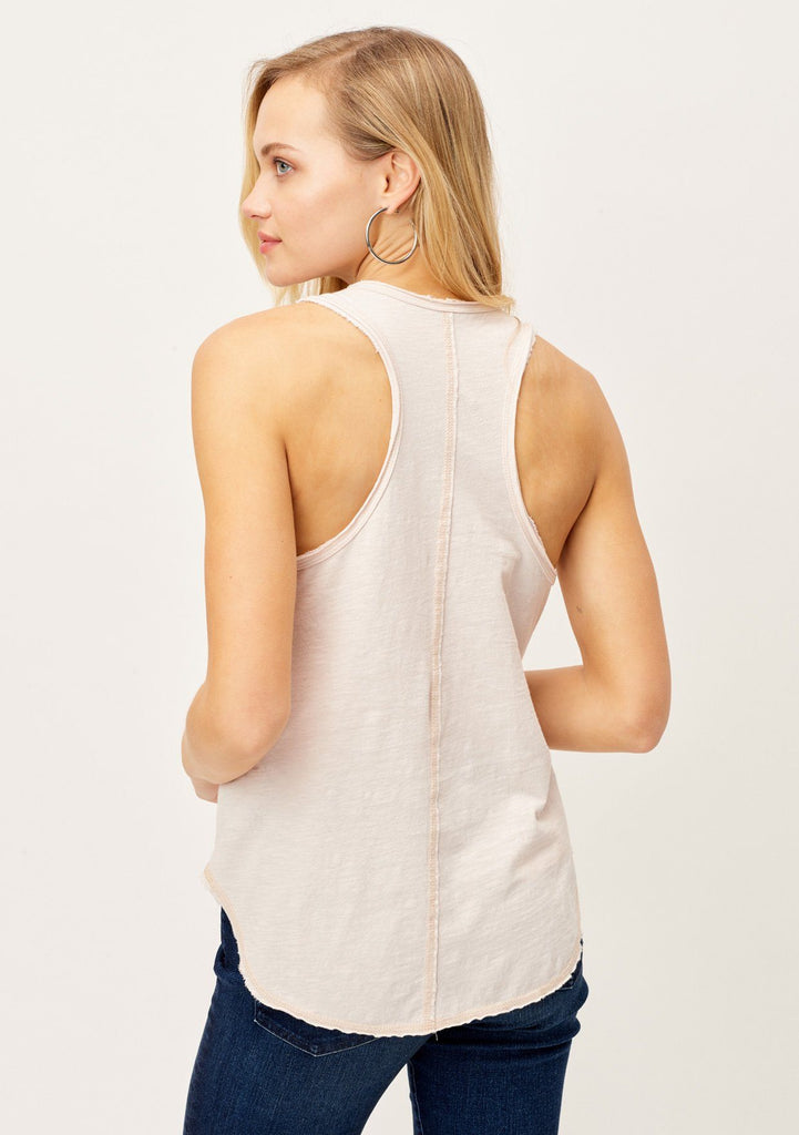 [Color: Faded Rose] Lovestitch light pink racer back tank top with exposed hem. A cute casual tank top