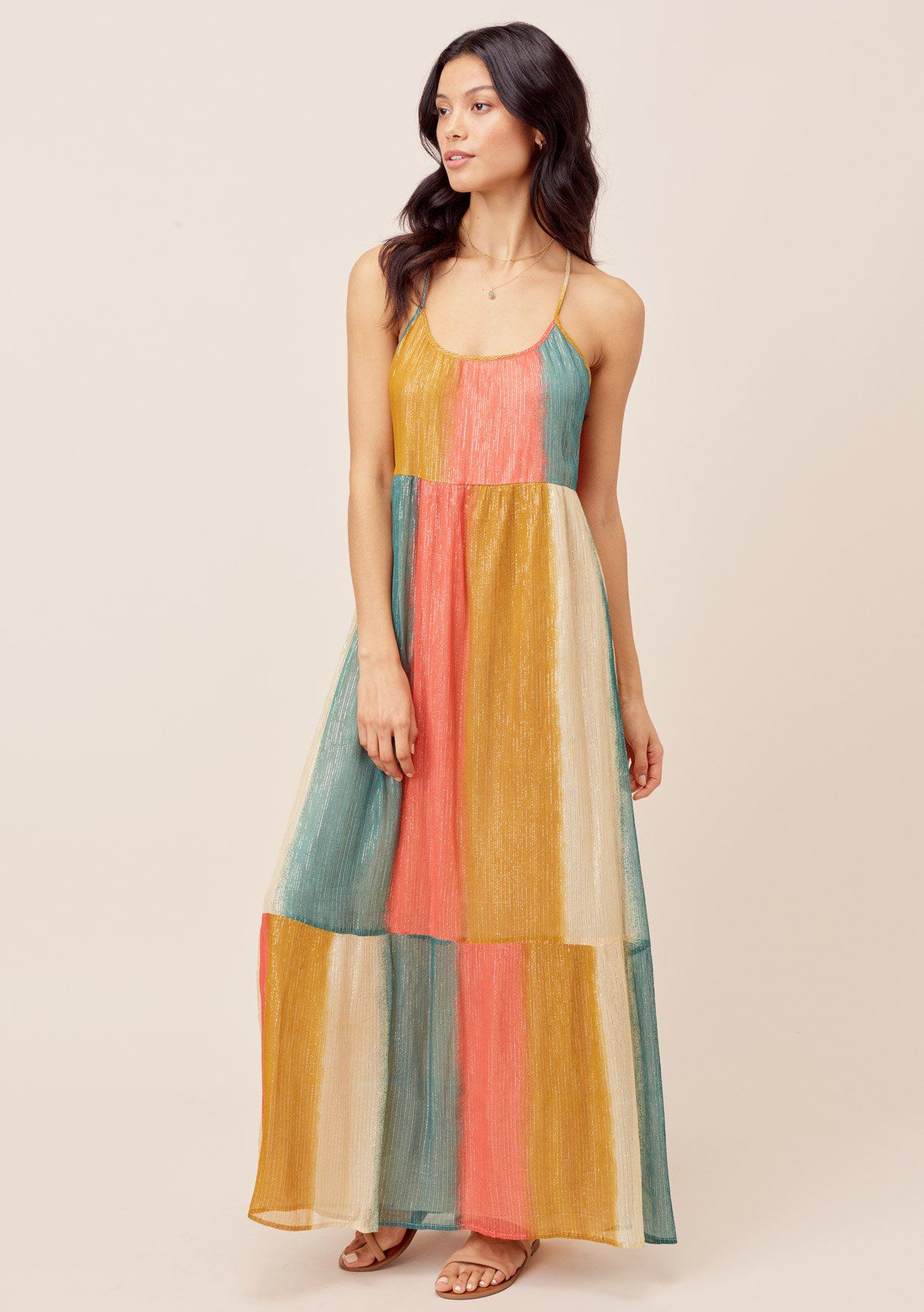 Rainbow Stripe Metallic Maxi Dress Lovestitch