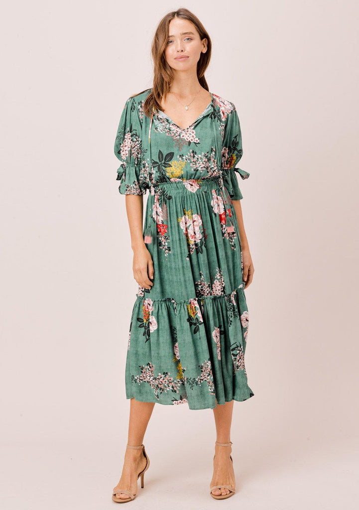 [Color: Sage] Lovestitch sage green Floral printed midi dress with tie neck detail and bow sleeve detail.
