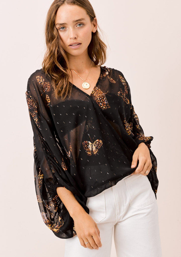 [Color: Black/Gold/Rust] Lovestitch black/gold/rust, butterfly printed, surplice top with shirred detail