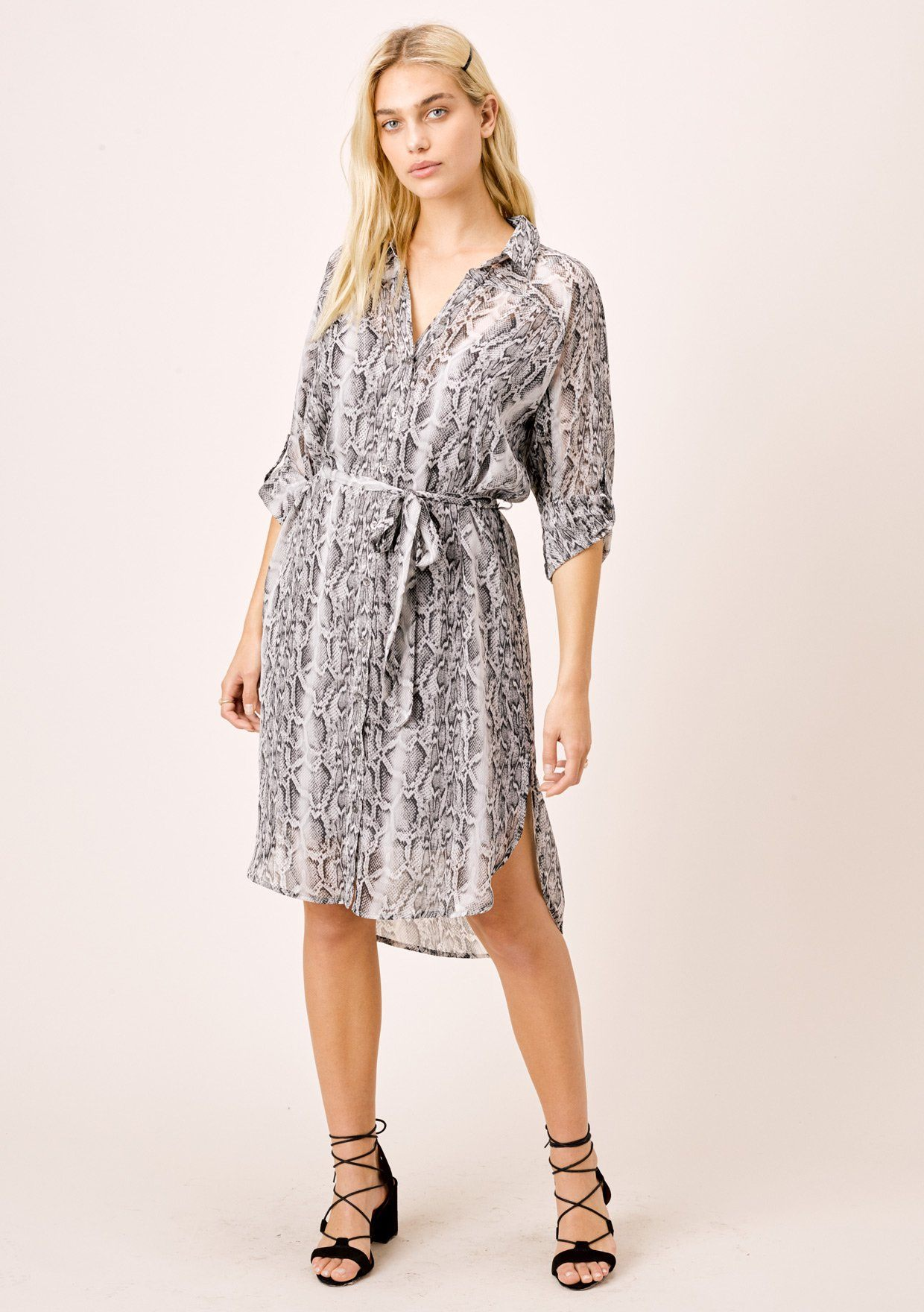 [Color: Grey/Silver] Lovestitch grey/silver Snakeskin printed, buttondown dress in crinkle chiffon with lurex details.