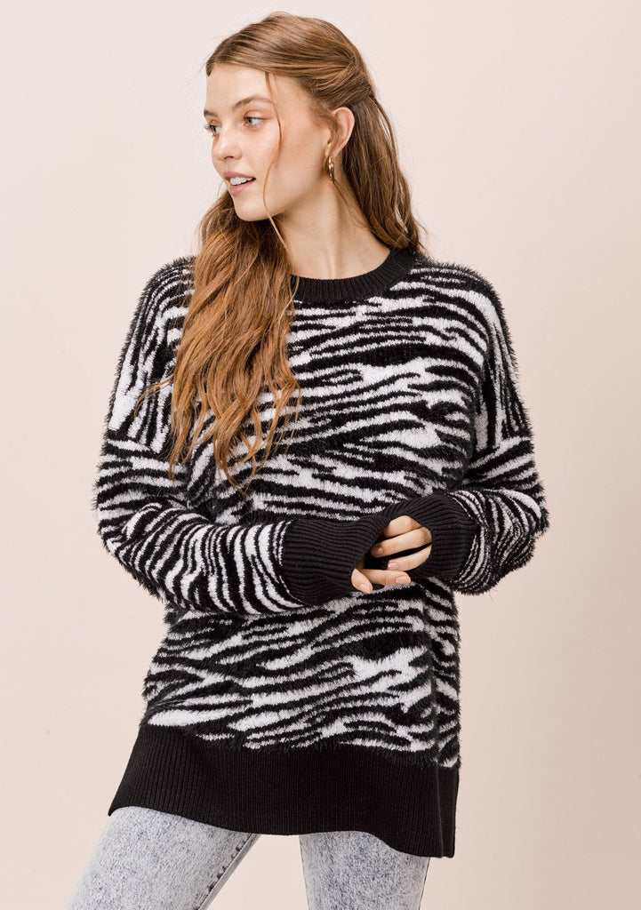 [Color: Snow Zebra] Lovestitch trending black and white zebra stripe pullover sweater - super soft relaxed fit sweater