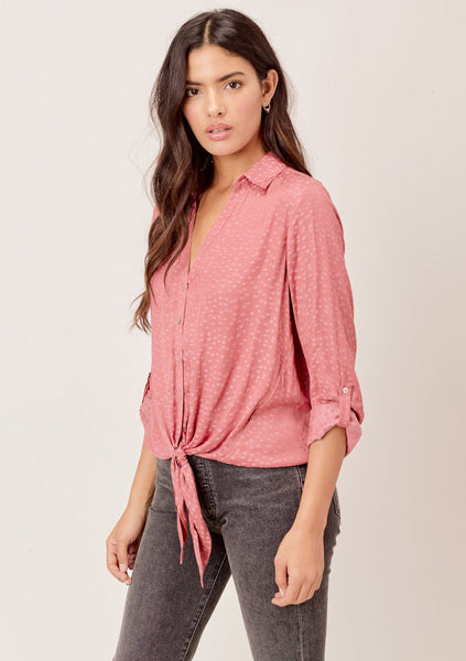 Noor Star Printed Tie Front Top