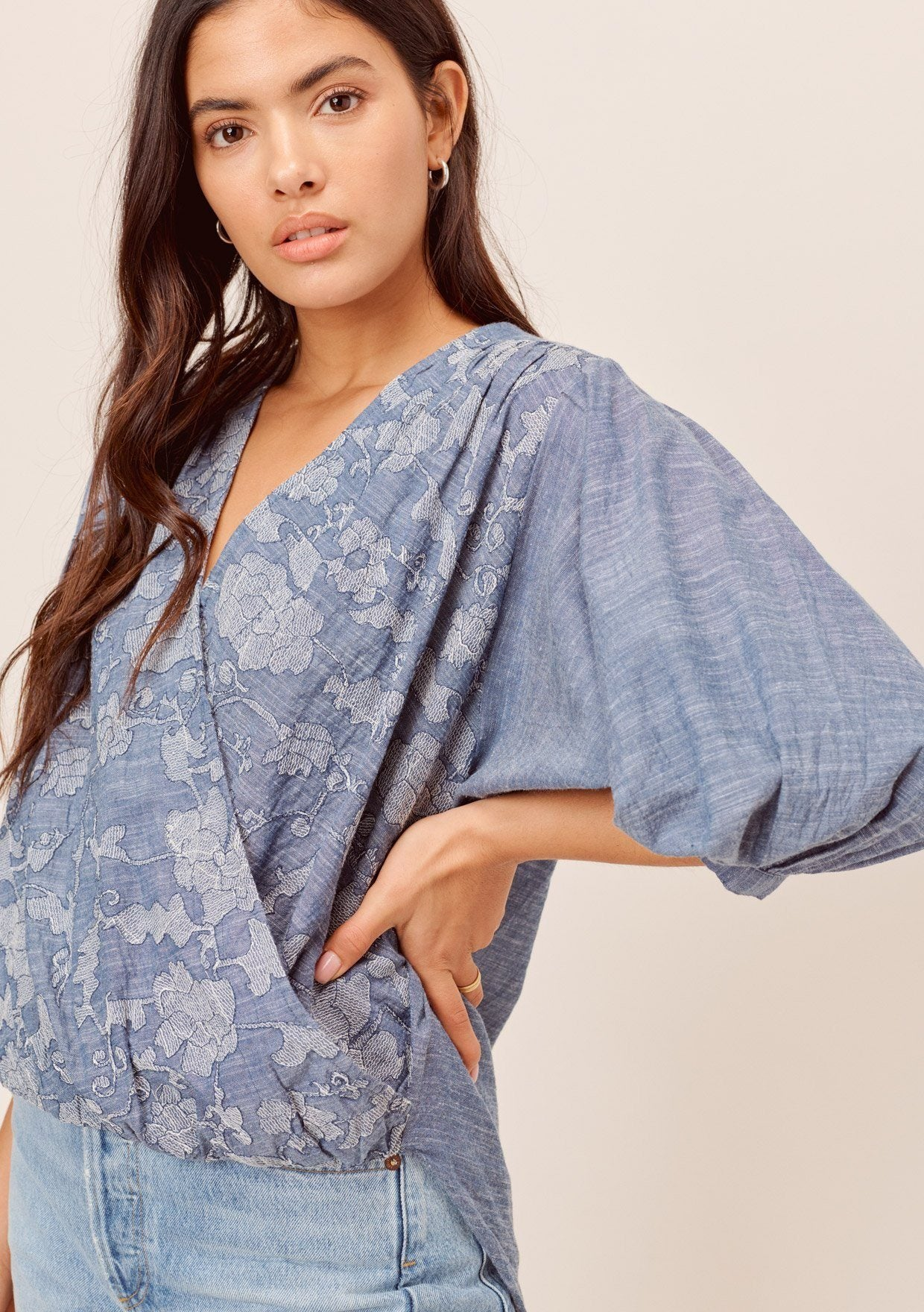 [Color: Indigo] Lovestitch indigo embroidered cotton, dolman sleeve surplice top with high-low hem.