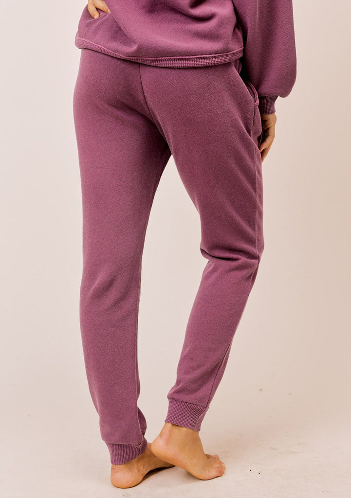 [Color: Burgundy] Lovestitch burgundy pigment dyed jogger sweatpant with drawstring waist and side pockets
