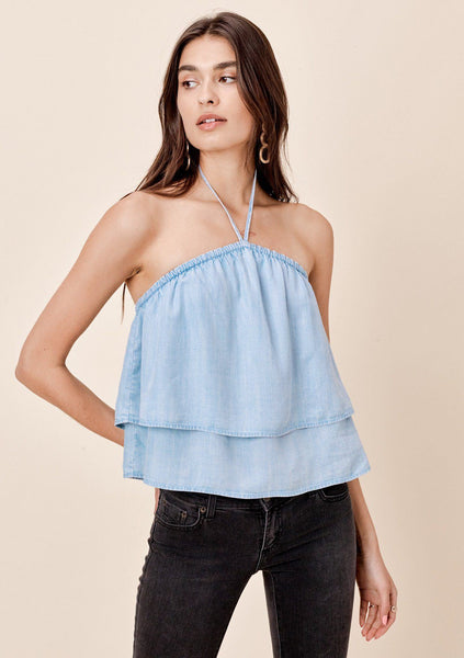 Abrielle Double Layer Halter Top